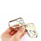 다시 반짝이 다이아몬드 커버 케이스 아이폰 기가 플러스 / 6 플러스와 도금 골드 소프트 TPU 꽃 패턴