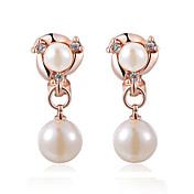 Mujer Perla Pendientes con clip - Perla, Perla Artificial, Zirconia Cúbica Plata / Oro Rosa Para