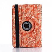 Funda Para iPad Air con Soporte Activado / Apagado Automático Origami Rotación 360º Funda de Cuerpo Entero Flor Cuero de PU para iPad Air