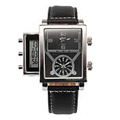 Hombre Reloj de Pulsera LCD Calendario Tres Husos Horarios Cuarzo Piel Banda Negro