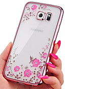 Funda Para Samsung Galaxy Funda Samsung Galaxy Diamantes Sintéticos Cromado Transparente Diseños Funda Trasera Flor TPU para A7(2016)