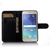 Para Funda Samsung Galaxy Soporte de Coche / Cartera / con Soporte / Flip Funda Cuerpo Entero Funda Un Color Cuero Sintético SamsungJ7