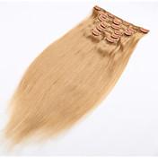 clip-en la extensión del pelo de productos de cabello natural cabello humano brasileño suave con clip en - 20 colores disponibles