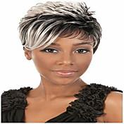 Pelucas sintéticas Rizado Peluca afroamericana Sin Tapa Mujer Gris Peluca natural Corta