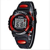 SYNOKE Niños Reloj digital Reloj de Pulsera Reloj Deportivo Digital Despertador Calendario Cronógrafo Resistente al Agua LCD Luminoso PU