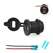 iztoss 2.1a& 2.1a Dobbelt usb lader mobiltelefon lader stikkontakt med voltmeter lys og 15cm ledninger