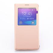 Funda Para Samsung Galaxy Samsung Galaxy Note con Soporte con Ventana Funda de Cuerpo Entero Color sólido Cuero de PU para Note 5