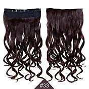 clip en 1pc sintética mujeres del pelo 24inch 60cm gran onda largas extensiones de cabello rizado de color # 33 teje el pelo sintético