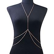 Mujer Joyería Corporal Cinturones metálicos collar arnés Para Cuerpo Bikini Europeo Crossover Doble capa Sexy joyería de disfraz Chapado