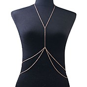 Borla / Crossover Cinturones metálicos / Para Cuerpo / collar arnés - Chapado en Oro Borla, Europeo, Doble capa Mujer Dorado Joyería Corporal Para Fiesta / Diario / Casual