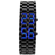 Hombre Reloj de Pulsera Reloj creativo único Reloj de Moda Digital Calendario LED Silicona Banda Brazalete Negro Plata