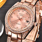 Mujer Cuarzo Reloj de Pulsera Calendario / La imitación de diamante Acero Inoxidable Banda Encanto / Moda Plata / Dorado