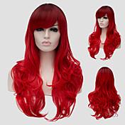 Pelucas sintéticas Ondulado Con flequillo Pelo sintético Parte lateral Rojo Peluca Mujer Larga Sin Tapa
