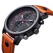 Hombre Reloj de Moda Cuarzo / Reloj Casual Piel Banda Encanto Negro Marrón