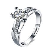 Dame Statement Ring Band Ring Hvit Syntetiske Edelstener Sølv Zirkonium Kubisk Zirkonium Fuskediamant Hjerte Kjærlighed Mote Bryllup Fest