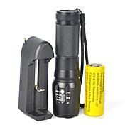 LED손전등 LED 5000 lm 1 모드 Cree XM-L T6 줌이 가능한 조절가능한 초점 밝기조절가능 캠핑/등산/동굴탐험 사이클링 멀티기능 등산 여행