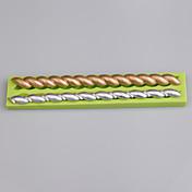 2 molde de silicona de forma de tira de cavidad para herramientas de decoración de pastel de fondant color aleatorio