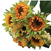 Kunstige blomster 5 Gren Moderne Stil Solsikker Bordblomst