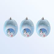 3 piezas de decoración de navidad lindo muñeco de nieve patrón azul bola de color