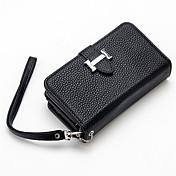 Etui Til Apple iPhone 8 iPhone 8 Plus iPhone 6 iPhone 7 Plus iPhone 7 Kortholder Lommebok Flipp Heldekkende etui Helfarge Hard PU Leather