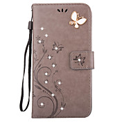 Etui Til Apple iPhone X / iPhone 8 / iPhone 7 Lommebok / Kortholder / Rhinstein Heldekkende etui Sommerfugl Hard PU Leather til iPhone X / iPhone 8 Plus / iPhone 8