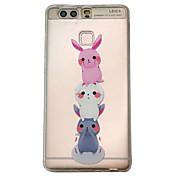 Para la cubierta del caso de huawei p9 v8 tres patrón de los pequeños conejos en relieve friegan la caja material del teléfono del tpu