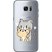 Etui Til Samsung Galaxy S7 edge S7 Ultratynn Gjennomsiktig Mønster Bakdeksel Katt Myk TPU til S7 edge S7 S6 edge plus S6 edge S6