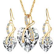 Mujer Cristal / Diamante sintético Cristal Corazón Conjunto de joyas 1 Collar / 1 Par de Pendientes - Amor / Nupcial / Elegant Rojo /
