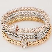 Dame Vedhend Armband Grunnleggende Multi Layer Mote Enkel Stil Europeisk Strass Fuskediamant Legering Sirkelformet Smykker Julegaver Gave