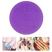 1pcs placas de estampación en plástico de color púrpura del arte del clavo de la plantilla 7cm herramientas de la plantilla manicura