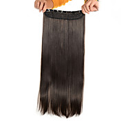5 klipp lang rett lys brun (# 6) syntetisk hår klippet i hair extensions for damer