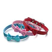 Gato Perro Cuello Ajustable / Retractable Lentejuelas Un Color Cuero de PU Rojo Azul Rosa