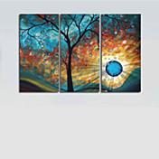 Pintada a mano Abstracto Horizontal Lona Pintura al óleo pintada a colgar Decoración hogareña Tres Paneles
