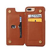 Etui Til Apple iPhone 8 iPhone 8 Plus iPhone 6 iPhone 7 Plus iPhone 7 Kortholder Støvtett Bakdeksel Helfarge Hard PU Leather til iPhone 8