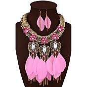 Mujer Joyería Destacada Joyería de Lujo Piedras preciosas sintéticas Legierung Pluma 1 Collar 1 Par de Pendientes Para Boda Fiesta Diario