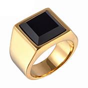 Herre Ring Statement Ring Gull Sølv Syntetiske Edelstener Titanium Stål Mote Daglig Avslappet Kostyme smykker