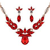 Cristal Cristal Legierung Rojo Champaña 1 Par de Pendientes Collares Para Boda Fiesta 1 Set Regalos de boda