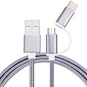 Micro USB 2.0 USB 2.0 Type-C USB-kabeladapter Flettet Kabel Til Samsung Huawei LG Nokia Lenovo Motorola Xiaomi HTC Sony 100 cm Nylon