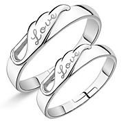 반지 결혼식 파티 일상 캐쥬얼 보석류 은 도금 커플 링 미디 반지 새해 맞이 약혼 반지 1 쌍,조절가능 실버