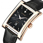 WWOOR Hombre Reloj de Moda Reloj de Pulsera Reloj de Vestir Cuarzo Calendario Piel Banda Casual Cool Negro Marrón