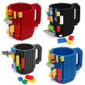 drinkware 빌딩 블록 머그컵 DIY 블록 퍼즐 머그컵 빌드 -에 벽돌 컵 타입 커피 머그잔