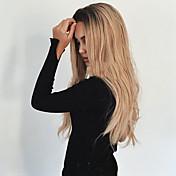 Syntetisk hår Parykker Bølget Midtskill Mørke røtter Ombre-hår Varme resistent Lokkløs Naturlig parykk Lang Blond