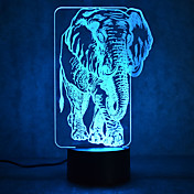 1 pieza Luz nocturna 3D Múltiples Colores USB Con Sensor Regulable Impermeable Color variable