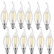 12pcs 2W 190lm E14 Bombillas de Filamento LED CA35 2 Cuentas LED COB Decorativa Blanco Cálido 220-240V