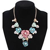 Mujer Gargantillas Collares Declaración Strands Collares Joyas Forma de Flor Perla Artificial Legierung Diseño Básico Diamantes