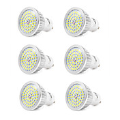 6pcs 7W 550-600lm GU10 LED-spotpærer 48 LED perler SMD 2835 Kjølig hvit 110-240V