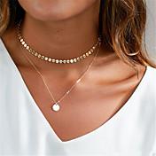 Mujer Gargantillas Y-Collares Joyas Forma Geométrica Cobre Colgante Personalizado Euramerican Moda Dorado Plata Joyas ParaOcasión