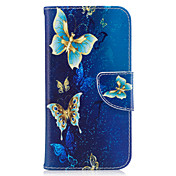 Etui Til Samsung Galaxy Lommebok / Kortholder / med stativ Heldekkende etui Sommerfugl Hard PU Leather til J3 (2016) / J3