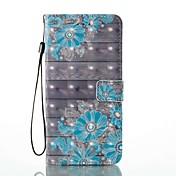 Etui Til Apple iPhone 8 iPhone 8 Plus Kortholder Lommebok med stativ Flipp Mønster Heldekkende etui Blomsternål i krystall Hard PU Leather