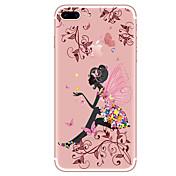 Para iPhone X iPhone 8 iPhone 8 Plus Carcasa Funda Transparente Diseños Cubierta Trasera Funda Mariposa Chica Sexy Flor Suave TPU para